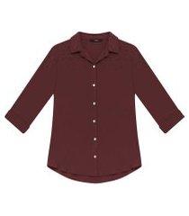 lez a lez - camisa manga 3/4 pérolas tecido bordo red wine