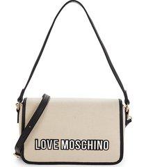 love moschino women's convertible shoulder bag - white black