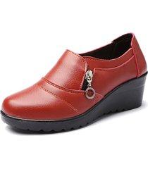 casual scarpe con zeppa morbida in colore a tinta unita