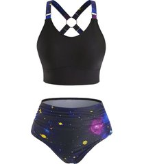 high waisted o-ring planet galaxy tankini swimwear