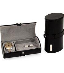 leather watch & cufflinks travel case