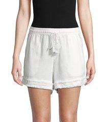 saks fifth avenue women's raw edge drawstring shorts - white - size l