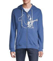 true religion men's large logo zip-up hoodie - onyx - size m