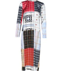 silk stretch satin jurk knielengte multi/patroon ganni