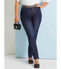 bolsillo de patchwork de leopardo de talla grande diseño botón diseño jeans