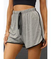 yoins basics pantalones cortos casuales grises con cintura con cordón