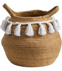 """11"""" boho chic handmade natural cotton woven basket planter with tassels"""