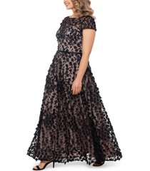 xscape plus size 3d-flower gown