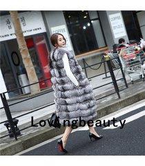 95cm length real silver fox fur vest for women gilet waistcoat plus size custom