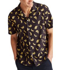 bonobos cabana banana short sleeve linen & cotton button-up camp shirt, size x-large in banana toss - abyss at nordstrom