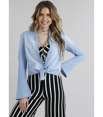 camisa jeans feminina com nó manga longa azul claro