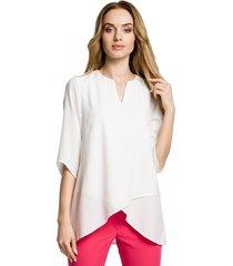 bluzka na zakładkę-ecru(m-359)