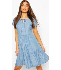 chambray tierred smock dress, light blue