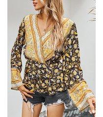 camicetta casual a maniche lunghe con scollo a v in vita con stampa floreale vintage