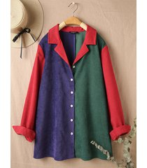 camicetta con bottoni e colletto con risvolto patchwork di colore a contrasto di velluto a coste