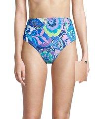 tahari women's paris floral high-rise bikini bottom - blue - size s