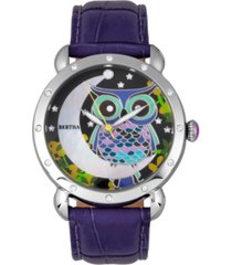 bertha quartz ashley collection silver and purple leather watch 38mm
