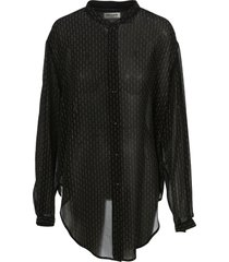 saint laurent oversized tie-up shirt with studs
