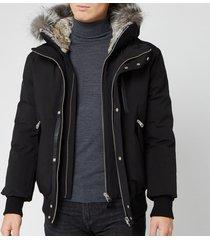 mackage men's dixon fur bomber jacket - black - s