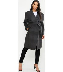 maternity tie waist shawl collar coat, charcoal