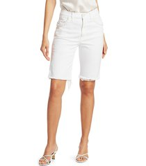 7 for all mankind women's high-rise boyfriend bermuda shorts - prince - size 28 (4-6)