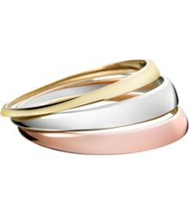 calvin klein grovvy stainless steel and pvd tri-color bangle bracelet set