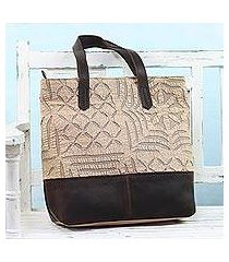 leather accent cotton tote bag, 'beige web' (india)