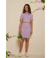 na-kd ekologisk babylock ribbstickad kjol - purple
