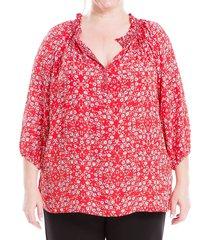 max studio women's plus floral peasant top - red multi - size 1x (14-16)