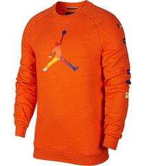 camiseta de hombre m j sprt dna hbr fleece crew nike naranja