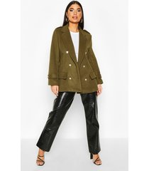 petite double breasted wool look military coat, khaki