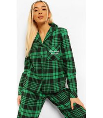 flanelen kiss me under the mistletoe pyjama broek, green