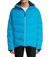 bogner men's hooded puffer ski jacket - lava red - size 42