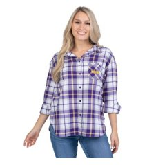 ug apparel lsu tigers women's flannel boyfriend plaid button up shirt