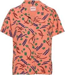 brush stroke shirt overhemd met korte mouwen oranje bobo choses