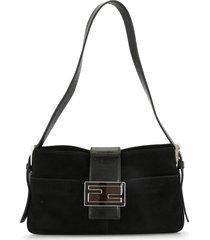 fendi pre-owned velvet ff buckle shoulder bag - black