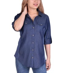 ny collection petite denim contrast shirt