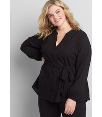 lane bryant women's textured button-front belted top 14p black