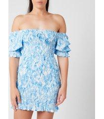 faithfull the brand women's magnolia mini dress - roos tie dye blue - l