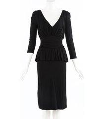 alexander mcqueen black stretch knit draped midi dress black sz: s