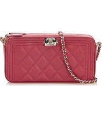 chanel le boy lambskin leather wallet on chain red, bordeau sz:
