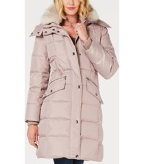 london fog hooded faux-fur-trim down puffer coat