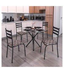 conjunto de mesa com tampo de vidro e 4 cadeiras istambul preto