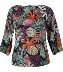 bedrukte blouse, antraciet motief 38