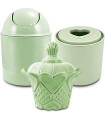 conjunto de cestos organizadores para banheiro jacki design lifestyle verde - verde - dafiti