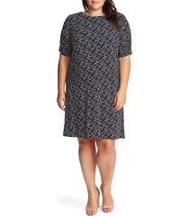 plus size women's cece ruched sleeve floral print dress, size 1x - black