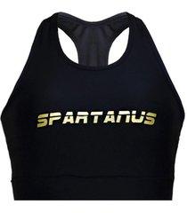 top de compressã£o spartanus fightwear star fight preto - preto - feminino - dafiti
