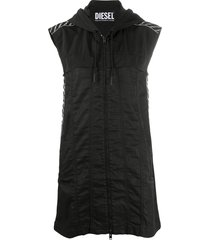 diesel hooded mini dress - black