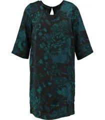 only polyester jurkje 3/4 mouw blauw groen valt ruim