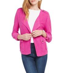 petite women's nic+zoe in flight linen blend knit jacket, size petite p - purple
